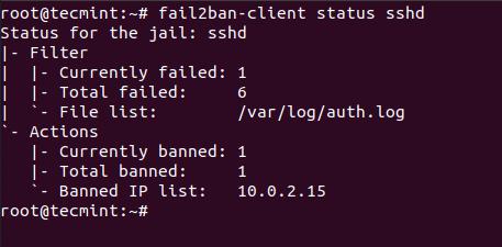Проверить статус Fail2ban SSH
