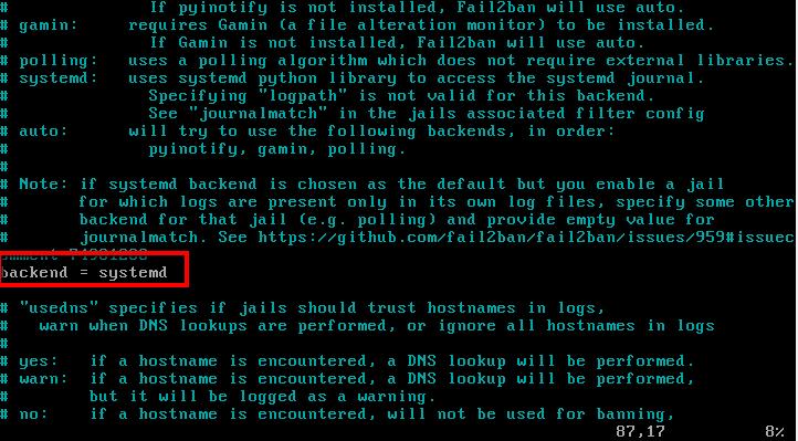 Включить Backend в Fail2ban
