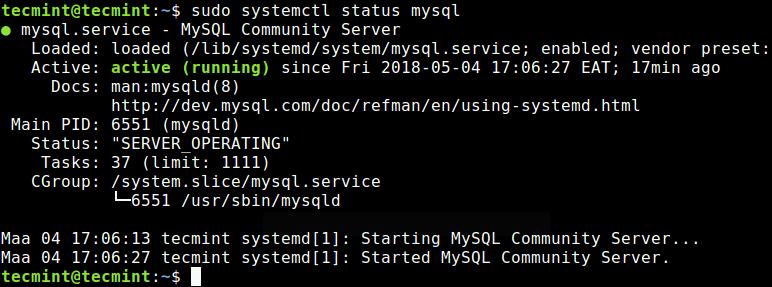 Проверка состояния сервера MySQL
